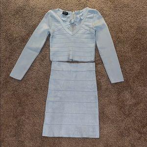 Bebe Bandage Two- Piece Dress Set Blue / Silver